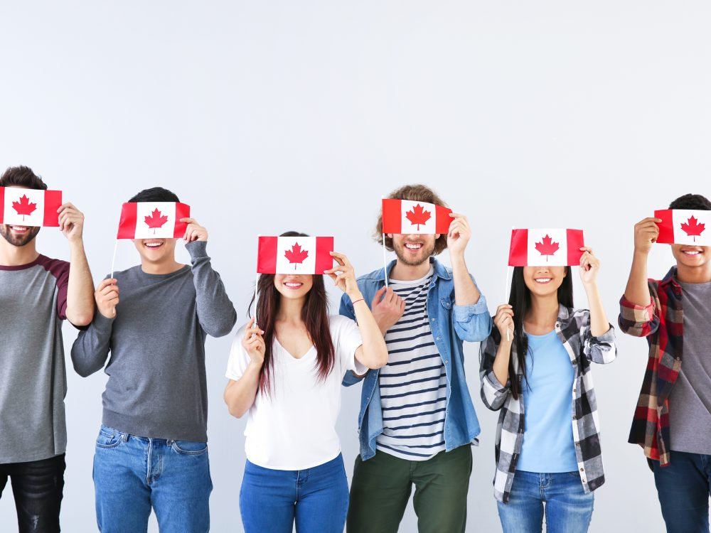 Group of students with Canadian flags on light background