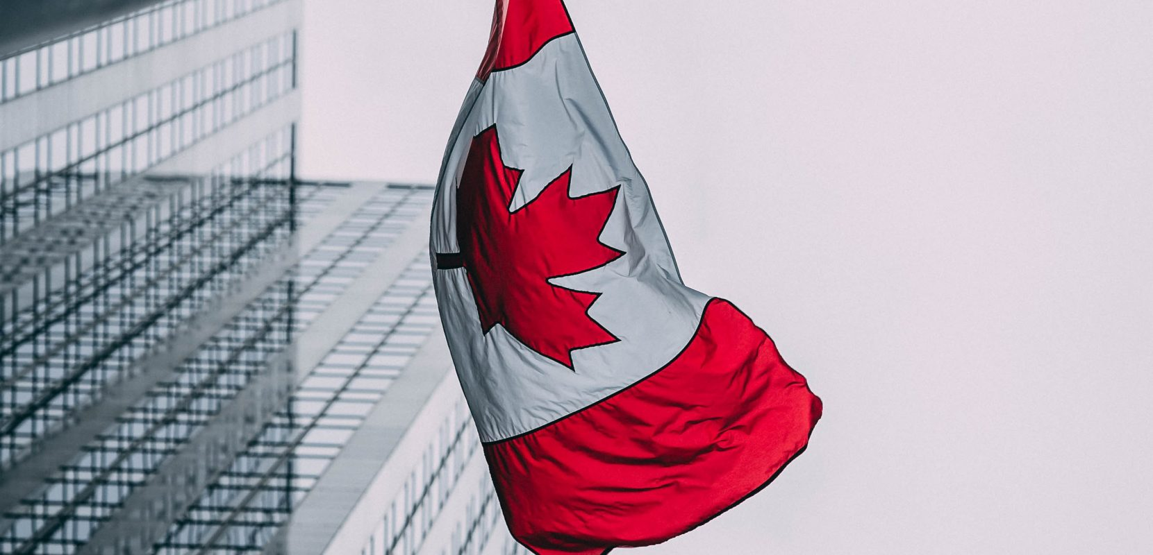 Canadian flag on a building