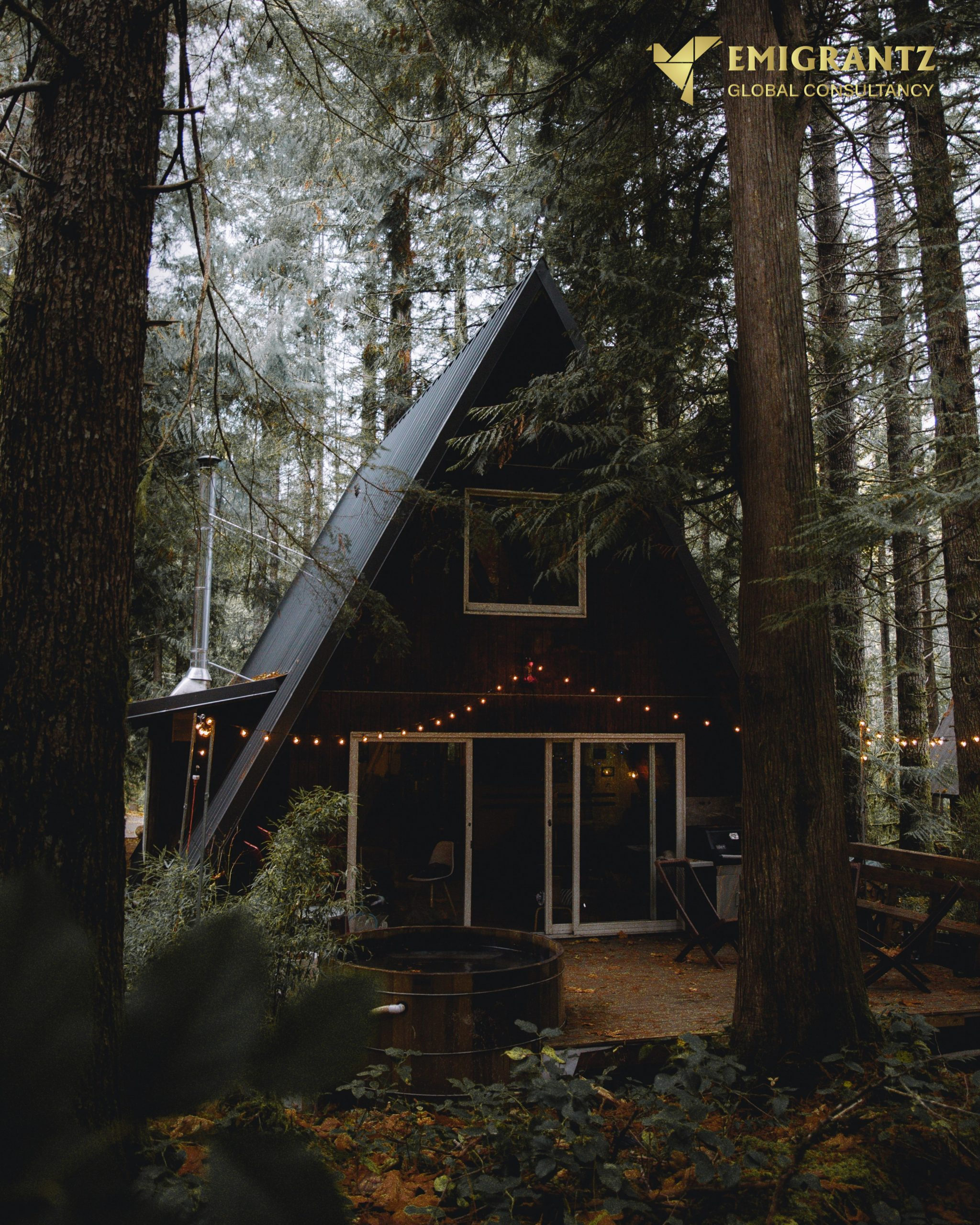 House decorated in the forest